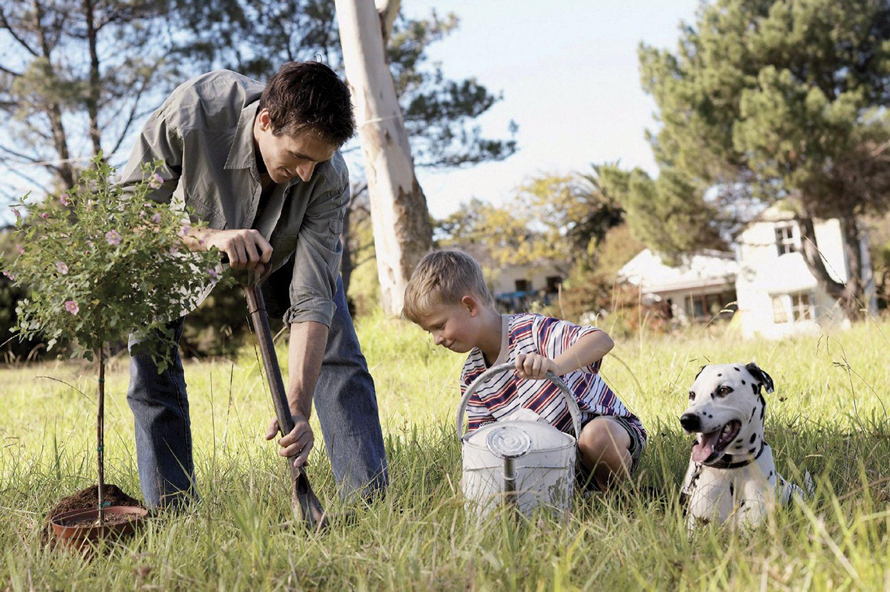 famille père enfant jardin
